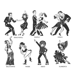 Popular native dance black icons set vector