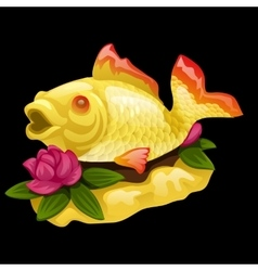Goldfish and water Lily on a black background vector image