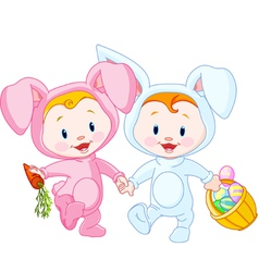 easter bunny babies vector image