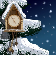Old wooden clock with fir tree and snow vector