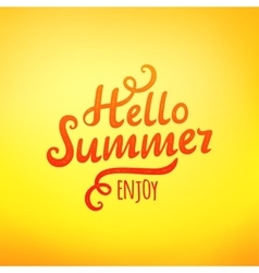 Phrase hello summer typography inscription vector