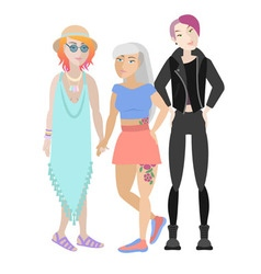 Three girls with original hairstyles vector