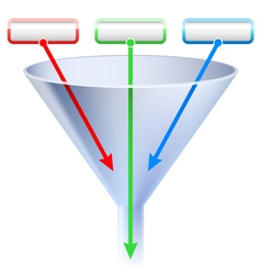 an image of a three stage funnel chart vector image vector image