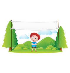 Banner template with boy in the park vector
