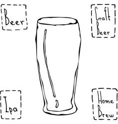 Beer glass weizen type hand drawn vector