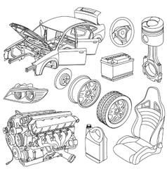 Car parts icons isometric vector image