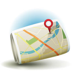Cartoon city map icon with gps pin vector