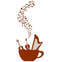 Cup of coffee with musical elements vector