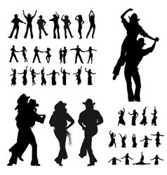 Dancers silhouette vector