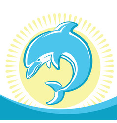 dolphin jumping in water waves symbol of seascape vector image vector image