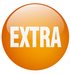 Extra orange round gel isolated push button vector
