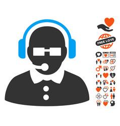 female operator icon with dating bonus vector image