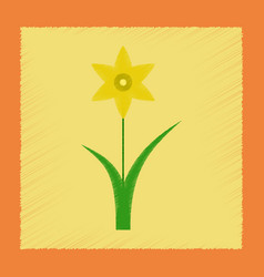 Flat shading style plant narcissus vector