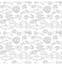 Hand drawn sea food seamless pattern vector image