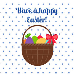 Happy easter white greeting card vector