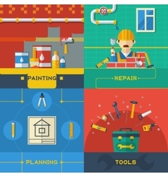 Home repair 4 flat icons composition vector