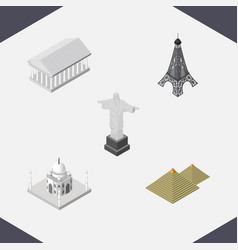Isometric cities set of athens india mosque vector
