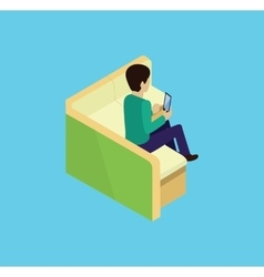 Isometric man sitting on couch isomertic icon vector