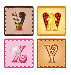 Letters vwxy candies vector