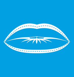Lips with lines drawn around it icon white vector