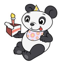 little panda eating birthday cake 2 vector image vector image