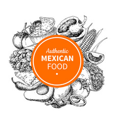Mexican food sketch label in frame traditional vector
