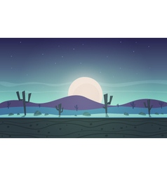 Night desert cartoon game background vector