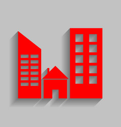 Real estate sign red icon with soft vector