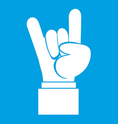 Rock and roll hand sign icon white vector