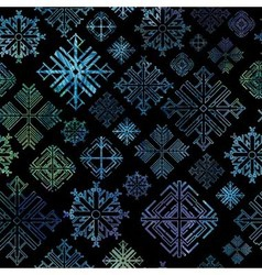 Seamless snowflake winter watercolor Christmas bac vector image