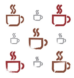 Set of hand-drawn coffee cup icons brush drawing vector