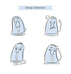 Set vintage emoji electric kettle vector