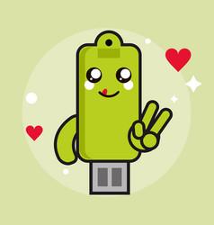 Usb kawaii cartoon happy cute icon graphic vector