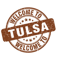welcome to tulsa brown round vintage stamp vector image