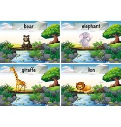 Wild animals standing of the bridge vector