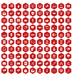 100 help desk icons hexagon red vector image