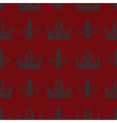 Red crowns and fleur de lis seamless vector image