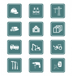 construction icons teal series vector image