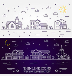 neighborhood with homes white and vector image