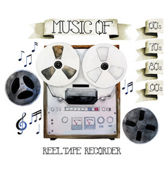 Watercolor reel tape recorder vector
