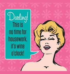 Wine oclock retro party invitation vector