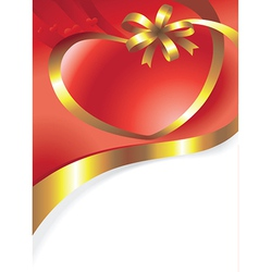 Red valentines background with heart and bow vector