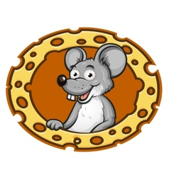 Mouse with cheese frame vector