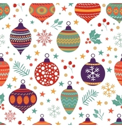 Christmas background with balls bells flowers vector
