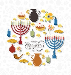 Hand sketched happy hanukkah logotype badge and vector