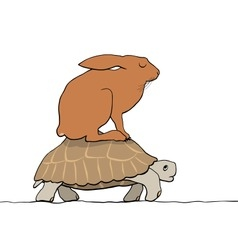 Hare and tortoise vector