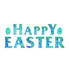 Happy easter lettering with eggs vector