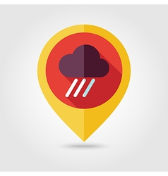 Rain cloud flat pin map icon downpour rainfall vector