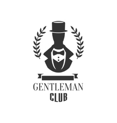 Gentleman Club Label Design With Man Silhouette vector image