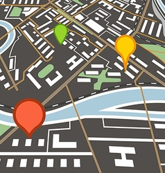Abstract city map with color pins vector